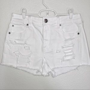 AMERICAN EAGLE white distressed hi rise shorts 10